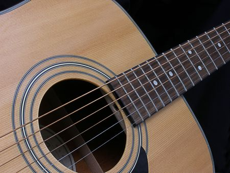 close up of an acoustic guitar on black