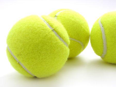 three tennis balls on white Stock Photo