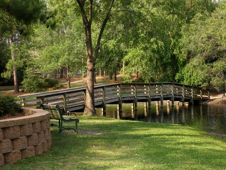 bridge over water: park with bridge over water