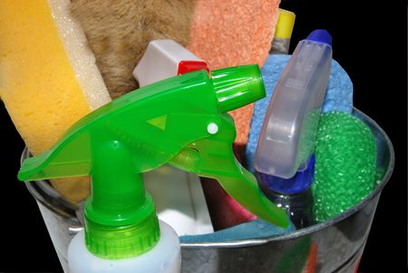 cleaning supplies: cleaning supplies focus on spray bottle Stock Photo