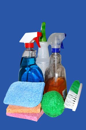 hygenic: cleaning supplies on blue
