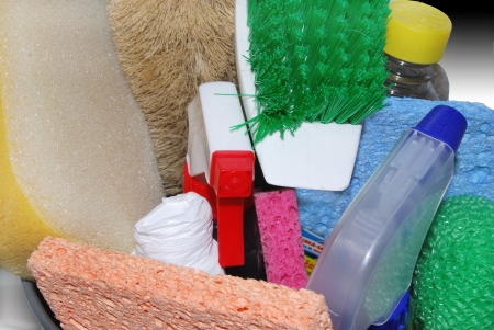 sterilize: up close of cleaning supplies Stock Photo