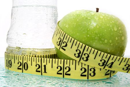 apple water and measure Stock Photo
