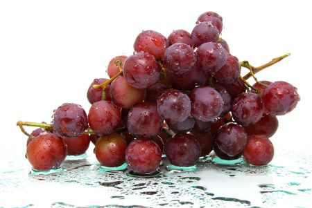 wet red grapes Stock Photo