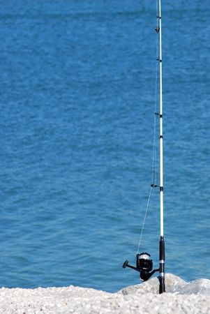fishing pole: fishing pole with line  Stock Photo