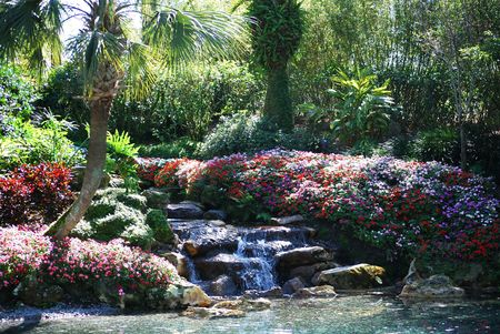 small waterfall in tropical garden Stock Photo - 2537474