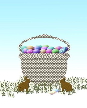 Cesto con uova di Pasqua  Archivio Fotografico - 2565110