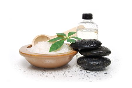 spa stones and bath salts