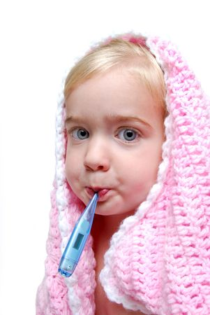 child with a thermometer