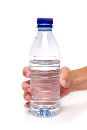 bottled: hand holding a water bottle Stock Photo