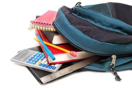 school backpack: mochila con útiles escolares