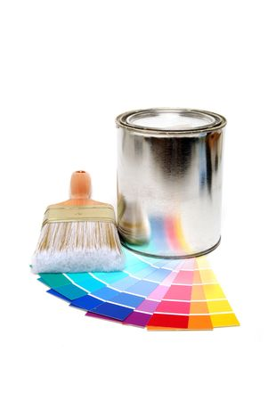 paint swatches can and brush photo
