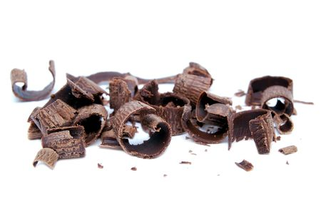 shavings: chocolate on white background Stock Photo