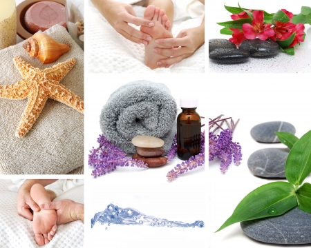 pamper: collage of spa massage