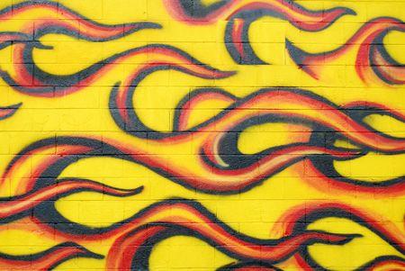 壁に落書き炎 写真素材