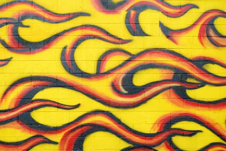 graffiti flames on wall