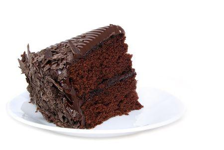 piece of cake: chocolate cake white background