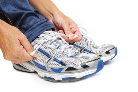 靴ひもを結ぶ 写真素材