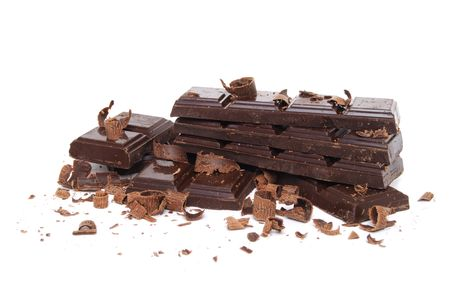 chocolate pieces white background photo