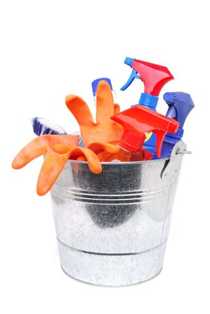 cleaning supplies in bucket Stock Photo