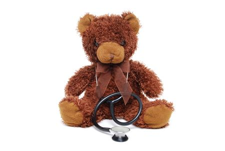 teddy bear with stethoscope photo