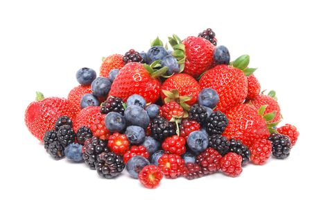 mixed berries white background 写真素材
