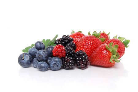 berry: mixed berries white background Stock Photo