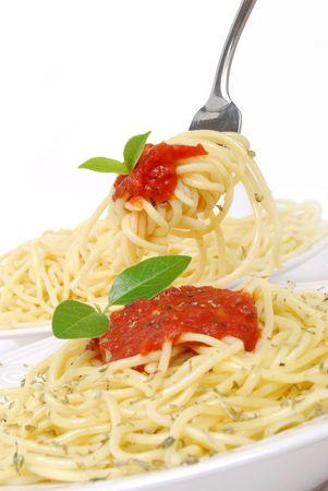 spaghetti noodles white background photo