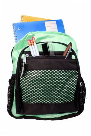 mochila: suministros de mochila y escuela  Foto de archivo