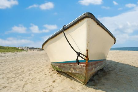 beached: old fishing boat beached Stock Photo