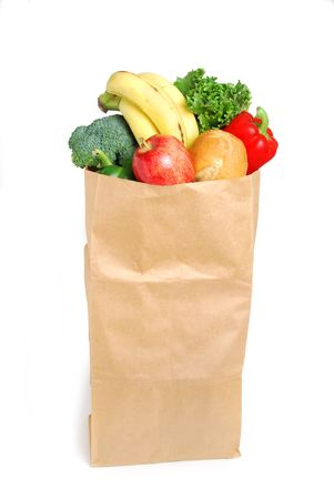 grocery bag white background Stock Photo