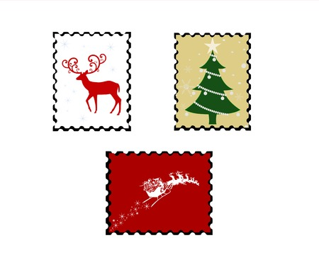 set of three christmas stamps Иллюстрация