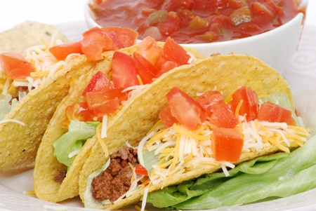 tacos and salsa on plate Stock Photo