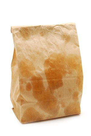 brown paper bag with grease spots photo