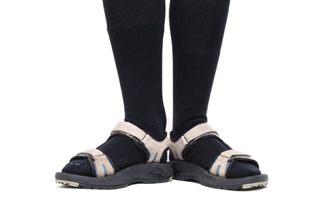 sandals: black socks with sandals Stock Photo