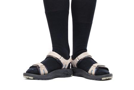 sandalia: calcetines negros con sandalias Foto de archivo