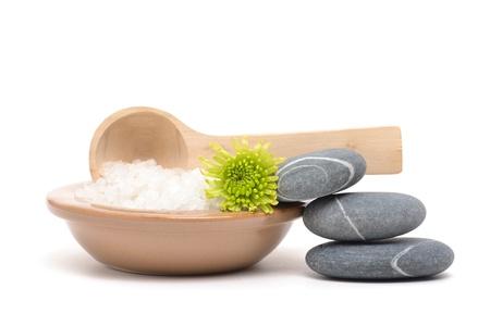 bath: massaging stones and bath salts