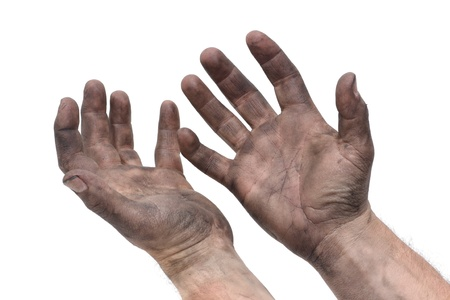 dirty man: man with dirty hands Stock Photo