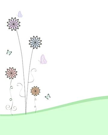 weide van bloemen Stock Illustratie