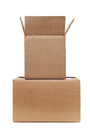 two cardboard boxes on white background photo