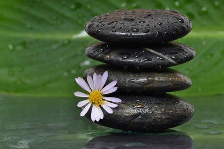 wet stacked spa stones photo