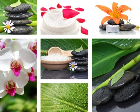 collage massage stone concept beauty