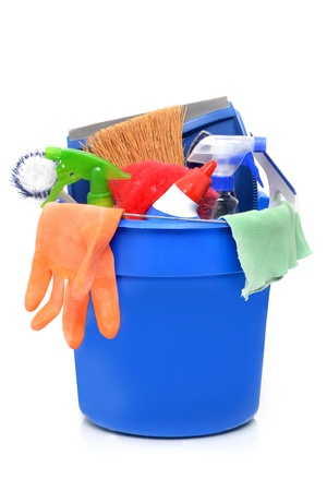cleaning supplies: cleaning supplies in a blue bucket Stock Photo