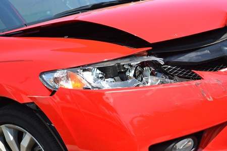 collision: damaged car after an accident Stock Photo