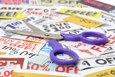 coupons: scissors with grocery coupons