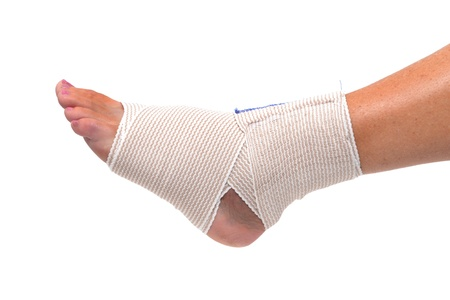 bandaged: ankle and foot wrapped in bandage