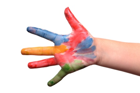 primary colors: childs hand with paint on fingers