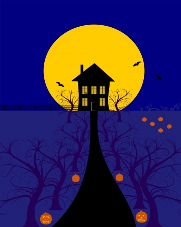 nite: scary halloween house background