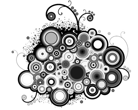 twirls: abstract black and white circles