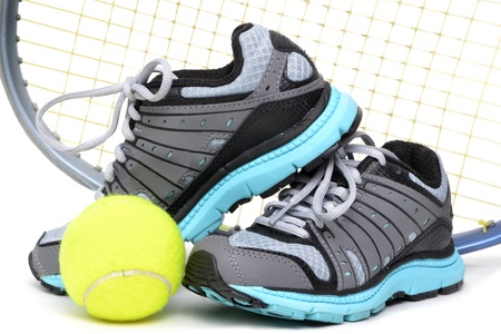 tennis shoe: tennis sports equipment white background Stock Photo